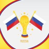 Rosja Złocisty Futbolowy trofeum, filiżanka i flaga/ ilustracji