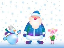 Rosjanin Święty Mikołaj, bałwan, prosiątko obraz stock