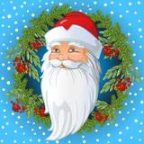 Rosjanina Święty Mikołaj głowa wśrodku wianku gałązki, liście i jagody halny popiół świerczyny i rowan, Wektorowa kreskówka royalty ilustracja