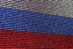 Rosjanina chorągwiany składać się z komputerowy kod Fotografia Royalty Free