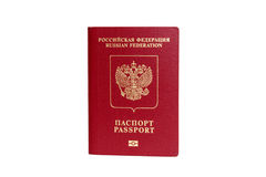 Rosyjski paszport odizolowywający z ścieżką obraz royalty free