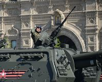Rosjanina granatnika 2S19 ` Msta-S ` ciężki samojezdny 152 mm Obraz Royalty Free