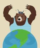 Rosjanina niedźwiedź zagraża pokój tła szklana kula ziemska odizolowywający poparcia biel kolor żółty Tradycyjni Rosyjscy clo Zdjęcia Stock