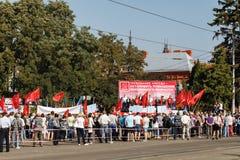 rosjanina wiec przeciw podnosić wieka emerytalnego zdjęcia stock