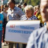 rosjanina wiec przeciw podnosić wieka emerytalnego fotografia royalty free
