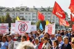 rosjanina wiec przeciw podnosić wieka emerytalnego obraz stock
