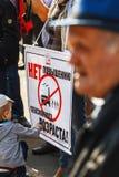 rosjanina wiec przeciw podnosić wieka emerytalnego fotografia stock