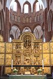 Roskilde cathedral. Gold altar in historical church (cathedral) in Roskilde, Denmark stock photography