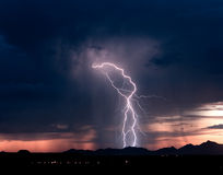 Roskruge Sunset Lightning 2 Stock Image