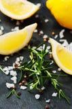 Rosmarin citron och saltar på tabellen fotografering för bildbyråer