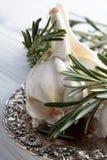 Rosmarin och vitlök på en trätabell Royaltyfria Foton