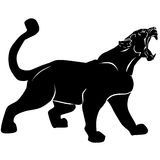 Rosnando a pantera preta com presas enormes Foto de Stock Royalty Free