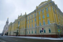 Rosneft - office at the Sofia Embankment in Moscow. Flags, old mansion, winter, snow royalty free stock images