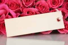 Rosor blommar på valentins eller moderns dag med hälsningkortet Arkivfoto
