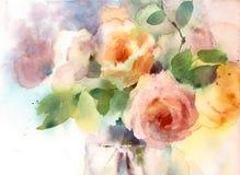 Rosor i den målade handen för illustration för vasvattenfärgblommor Royaltyfria Bilder