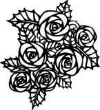 Rosor i tatueringstil royaltyfri illustrationer
