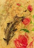 Rosor och fjäder med fåglar royaltyfri illustrationer