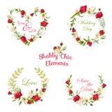 Rosor och Lily Tags för tappning blom-, etiketter och baner royaltyfri illustrationer
