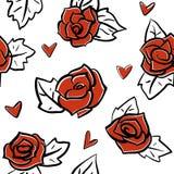 Rosor och sömlös modell för hjärtor Vektor Illustrationer
