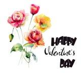 Rosor och vallmo blommar med lycklig valentindag för titel royaltyfri illustrationer