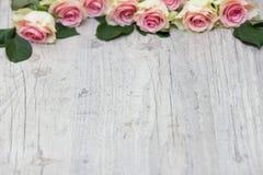 Rosor på en träbakgrund Arkivfoton