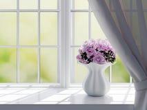 Rosor på en fönsterbräda Arkivbilder