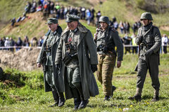 Rosowek, Poland, april 23, 2017: Historical reconstruction battle for Stettin in 1945, Red army against Wehrmacht in Rosowek Stock Photography