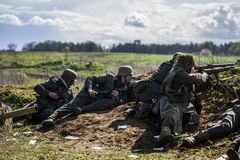 Rosowek, Poland, april 23, 2017: Historical reconstruction battle for Stettin in 1945, Red army against Wehrmacht in Rosowek Stock Images