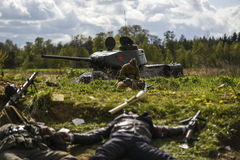 Rosowek, Poland, april 23, 2017: Historical reconstruction battle for Stettin in 1945, Red army against Wehrmacht in Rosowek Stock Image
