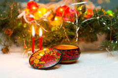 Rospisannaya bonito no estilo nacional do russo - Khokhloma do caixão Imagens de Stock Royalty Free