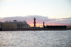 Rosrtal column in Saint Petersburg on sunset Stock Photo