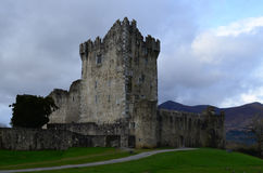 Ross Castle Ruins in Killarney Ireland on a Cloudy Day Stock Photography