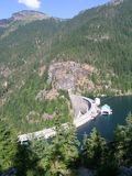 Ross Dam. View from the trail to Ross Dam in the North Cascades in Washington state stock photos