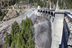 Ross Dam. Rainbow and Ross Dam wall stock image