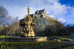 Ross Fountain and Edinburgh Castle stock photos