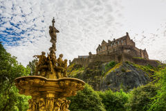 Ross Fountain and Edinburgh Castle Royalty Free Stock Images