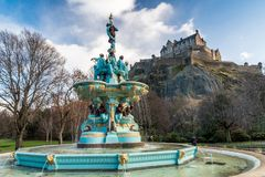 Ross Fountain with Edinburgh Castle royalty free stock image