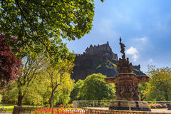 Ross fountain landmark in Pincess Street Gardens and Edinburgh Castle stock photos