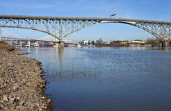Ross Island bridge and river Portland Oregon. Stock Images