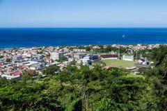 Rosseau Dominica von der Bergspitze Stockbilder
