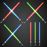 Сrossed light swords on dark plaid background. Royalty Free Stock Images
