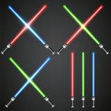 Сrossed light swords on dark plaid background. Royalty Free Stock Images