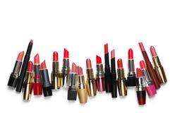 Rossetti cosmetici variopinti messi Fotografie Stock Libere da Diritti