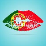 Rossetto della bandiera del Portogallo sulle labbra isolate su un fondo bianco Illustrazione di vettore Immagine Stock