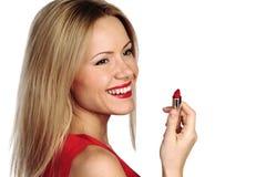 Rossetto di colore rosso della donna Immagine Stock Libera da Diritti