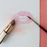 Rossetto, labbra e spazzola Fotografie Stock Libere da Diritti