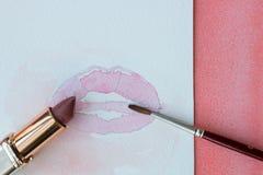 Rossetto, labbra e spazzola Fotografia Stock Libera da Diritti