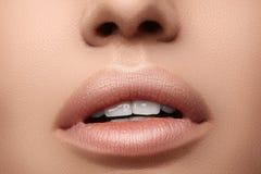 Rossetto naturale di modo Belle labbra sexy del primo piano Labbra piene con trucco del labbro o Immagini Stock