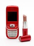 Rossetto rosso & telefono rosso fotografia stock libera da diritti