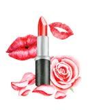 Rossetto rosso, bacio, Rosa e petali Orli sexy Illustrazione dell'acquerello Fotografia Stock